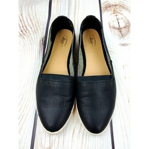GH Bass & Co fabric leather look flats black 7